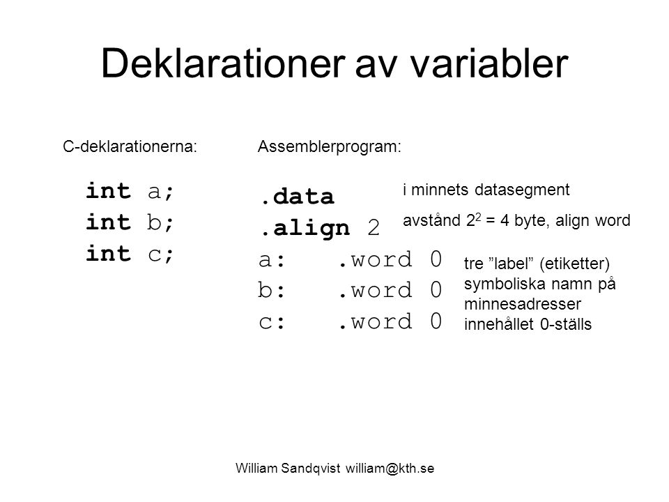 William Sandqvist william@kth.se Deklarationer av variabler int a; int b; int c;.data.align 2 a:.word 0 b:.word 0 c:.word 0 C-deklarationerna:Assemble