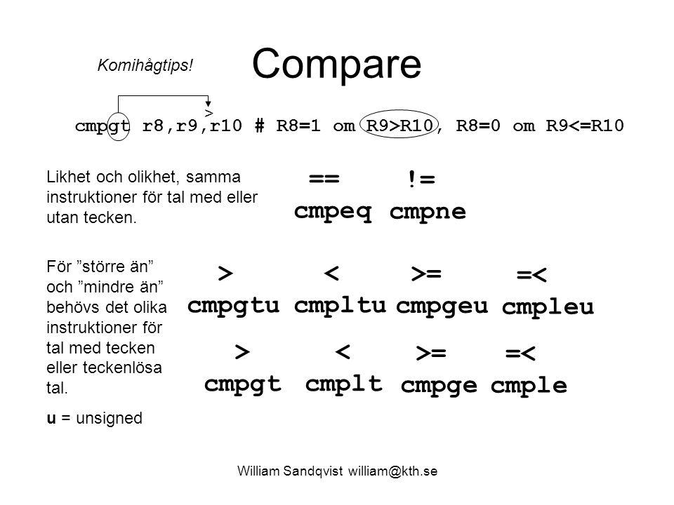 William Sandqvist william@kth.se Compare == cmpeq != cmpne >= cmpgeu =< cmpleu > cmpgtu < cmpltu >= cmpge =< cmple > cmpgt < cmplt cmpgt r8,r9,r10 # R