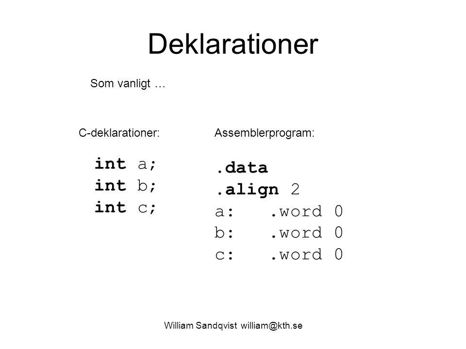 William Sandqvist william@kth.se Deklarationer int a; int b; int c;.data.align 2 a:.word 0 b:.word 0 c:.word 0 C-deklarationer:Assemblerprogram: Som v