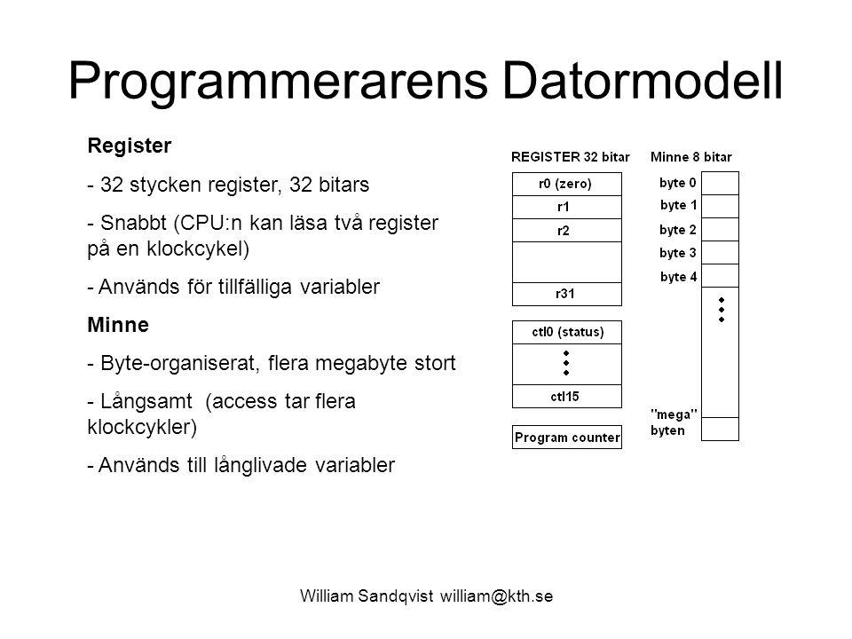 William Sandqvist william@kth.se Programmerarens Datormodell Register - 32 stycken register, 32 bitars - Snabbt (CPU:n kan läsa två register på en klo