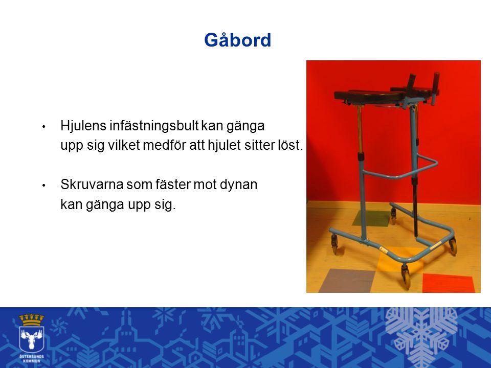 Gåbord Hjulens infästningsbult kan gänga upp sig vilket medför att hjulet sitter löst. Skruvarna som fäster mot dynan kan gänga upp sig.