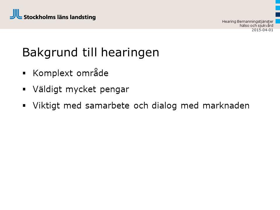Bakgrund till hearingen  Komplext område  Väldigt mycket pengar  Viktigt med samarbete och dialog med marknaden Hearing Bemanningstjänster hälso och sjukvård 2015-04-01