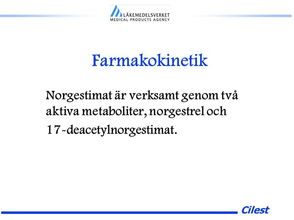 Cilest Farmakokinetik Norgestimat är verksamt genom två aktiva metaboliter, norgestrel och 17-deacetylnorgestimat.