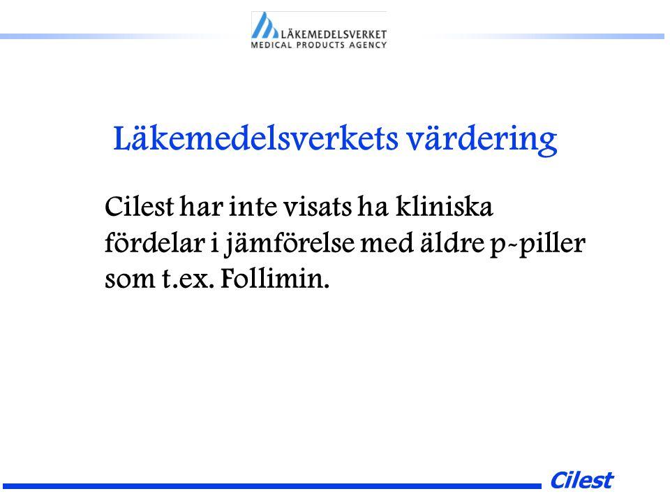 Cilest Läkemedelsverkets värdering Cilest har inte visats ha kliniska fördelar i jämförelse med äldre p-piller som t.ex.
