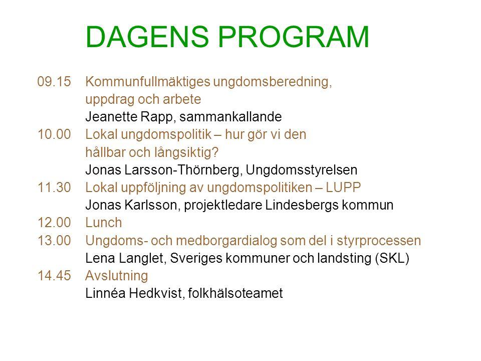 DAGENS PROGRAM 09.15Kommunfullmäktiges ungdomsberedning, uppdrag och arbete Jeanette Rapp, sammankallande 10.00Lokal ungdomspolitik – hur gör vi den h