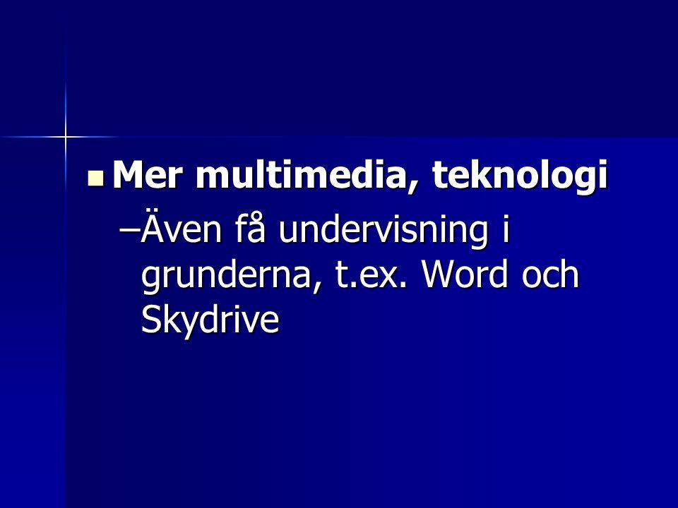 Mer multimedia, teknologi Mer multimedia, teknologi –Även få undervisning i grunderna, t.ex. Word och Skydrive