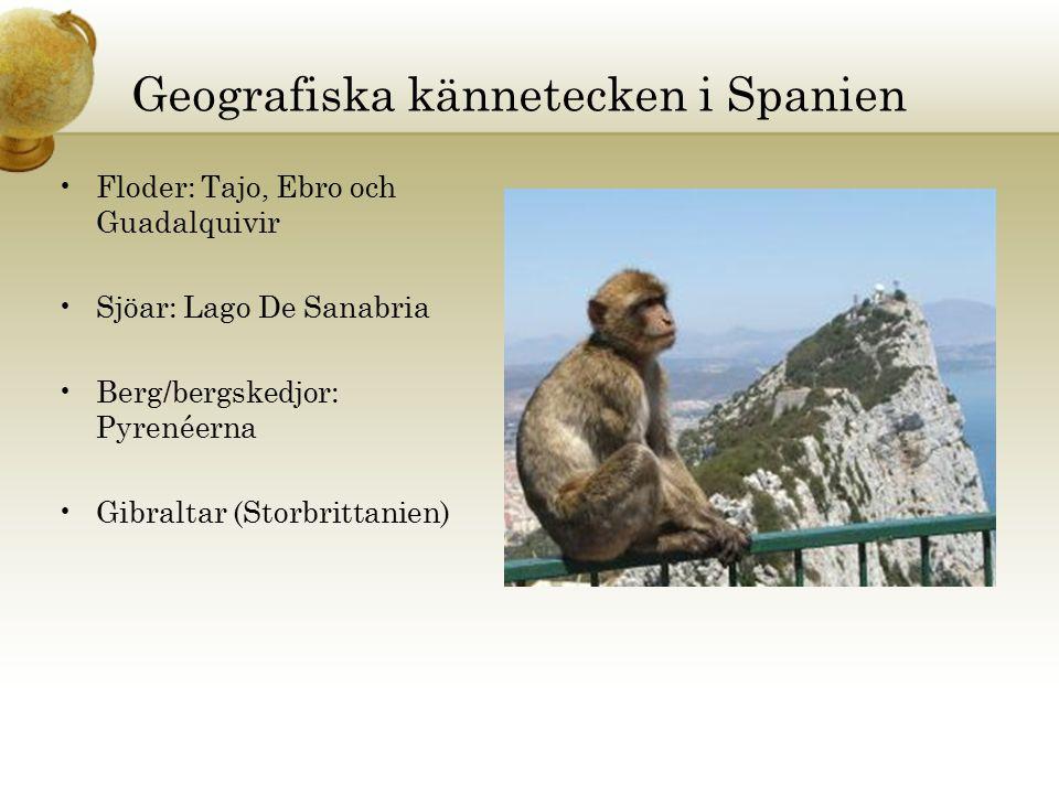 Geografiska kännetecken i Spanien Floder: Tajo, Ebro och Guadalquivir Sjöar: Lago De Sanabria Berg/bergskedjor: Pyrenéerna Gibraltar (Storbrittanien)