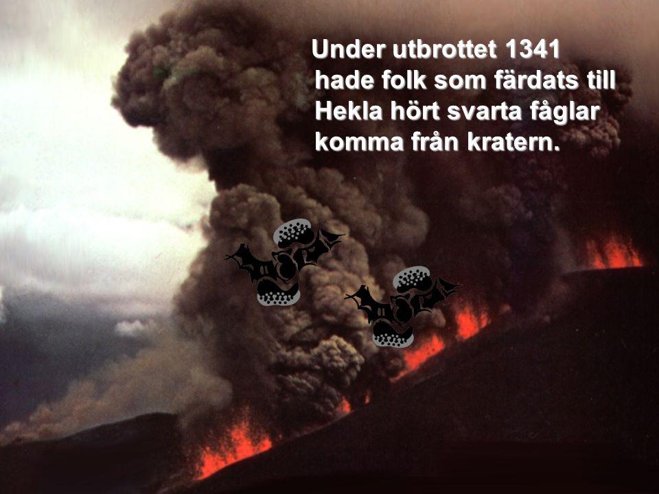 Under utbrottet 1341 hade folk som färdats till Hekla hört svarta fåglar komma från kratern. Under utbrottet 1341 hade folk som färdats till Hekla hör