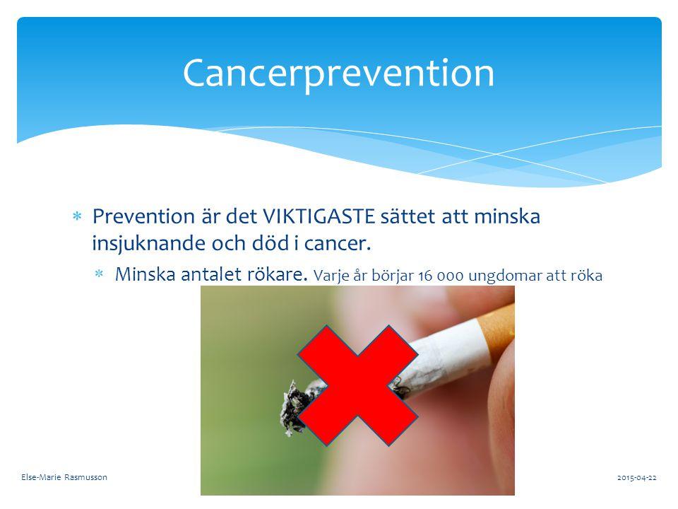  Prevention är det VIKTIGASTE sättet att minska insjuknande och död i cancer.  Minska antalet rökare. Varje år börjar 16 000 ungdomar att röka Cance