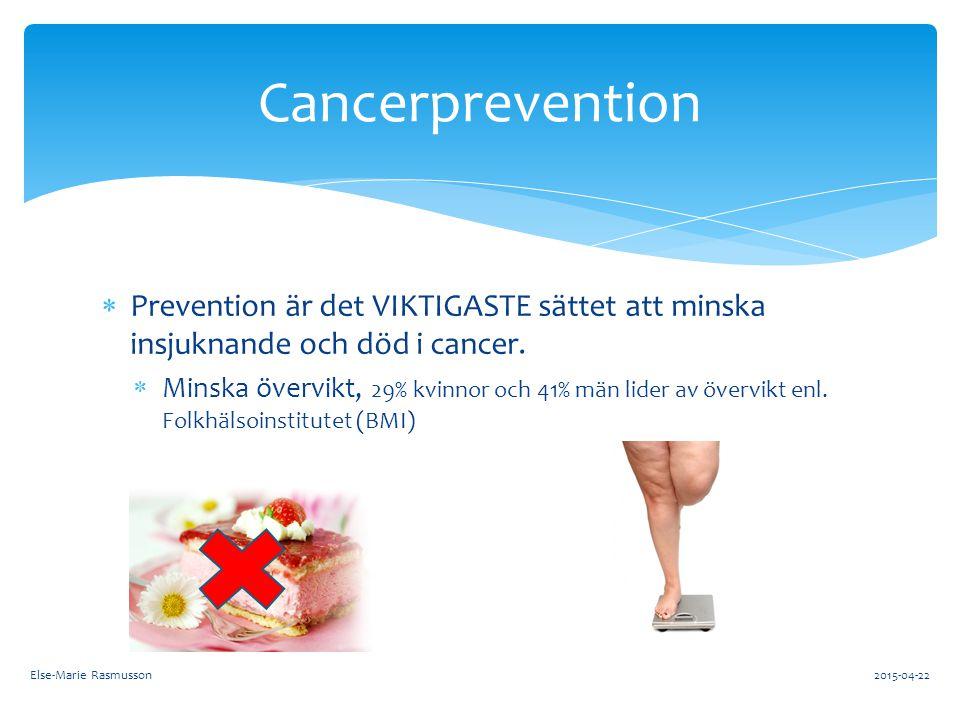  Prevention är det VIKTIGASTE sättet att minska insjuknande och död i cancer.  Minska övervikt, 29% kvinnor och 41% män lider av övervikt enl. Folkh