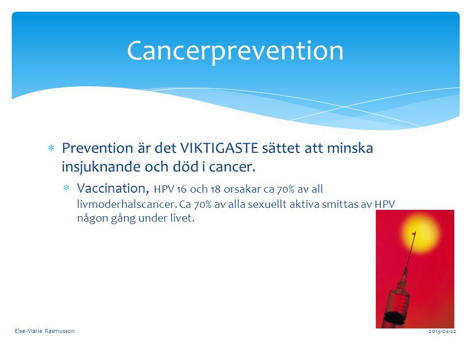  Prevention är det VIKTIGASTE sättet att minska insjuknande och död i cancer.  Vaccination, HPV 16 och 18 orsakar ca 70% av all livmoderhalscancer.