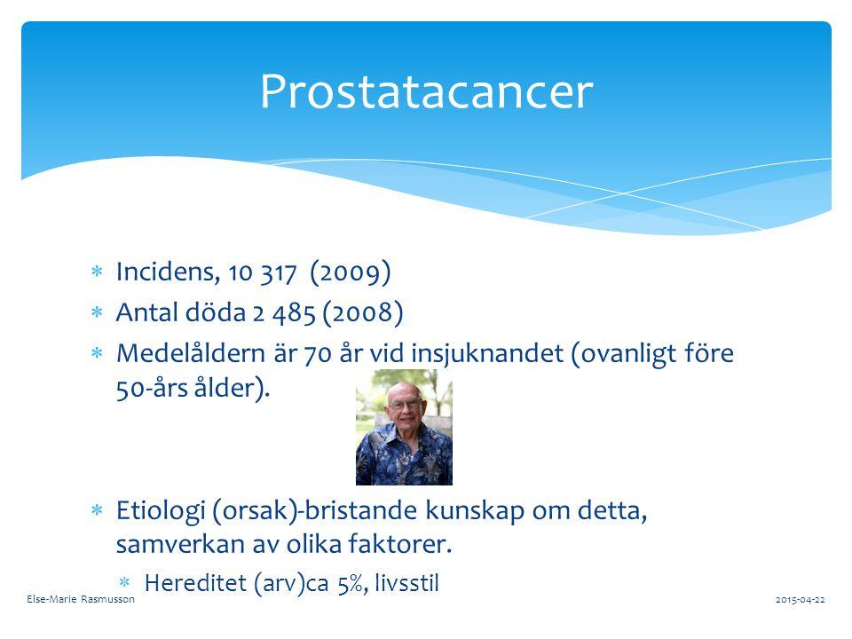  Incidens, 10 317 (2009)  Antal döda 2 485 (2008)  Medelåldern är 70 år vid insjuknandet (ovanligt före 50-års ålder).  Etiologi (orsak)-bristande