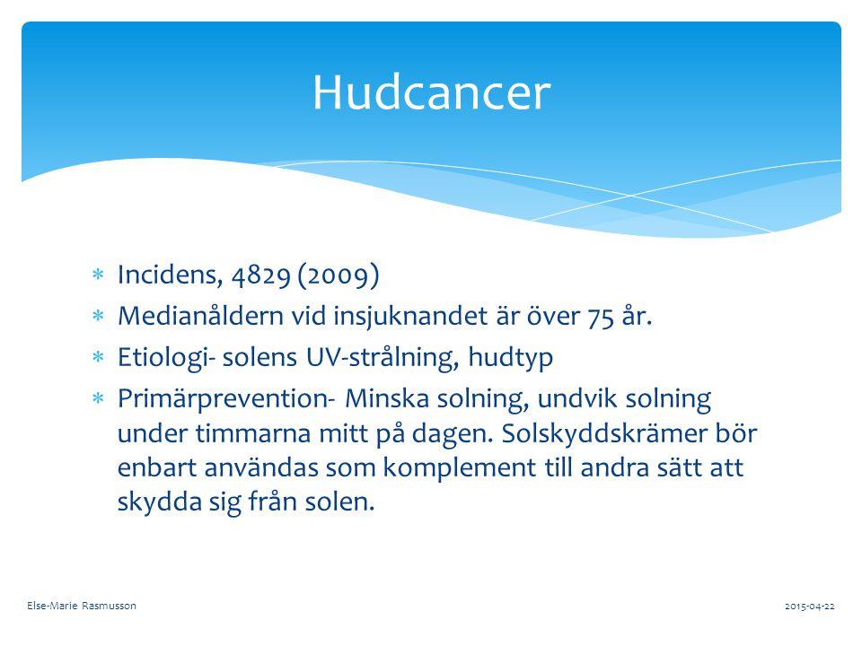  Incidens, 4829 (2009)  Medianåldern vid insjuknandet är över 75 år.  Etiologi- solens UV-strålning, hudtyp  Primärprevention- Minska solning, und
