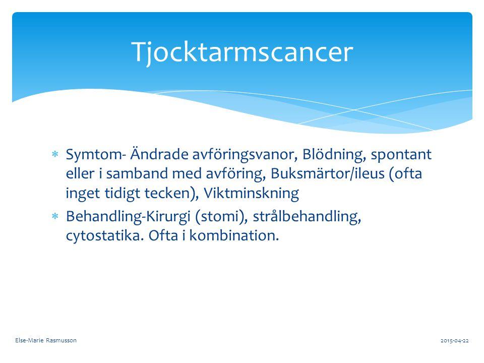  Symtom- Ändrade avföringsvanor, Blödning, spontant eller i samband med avföring, Buksmärtor/ileus (ofta inget tidigt tecken), Viktminskning  Behand