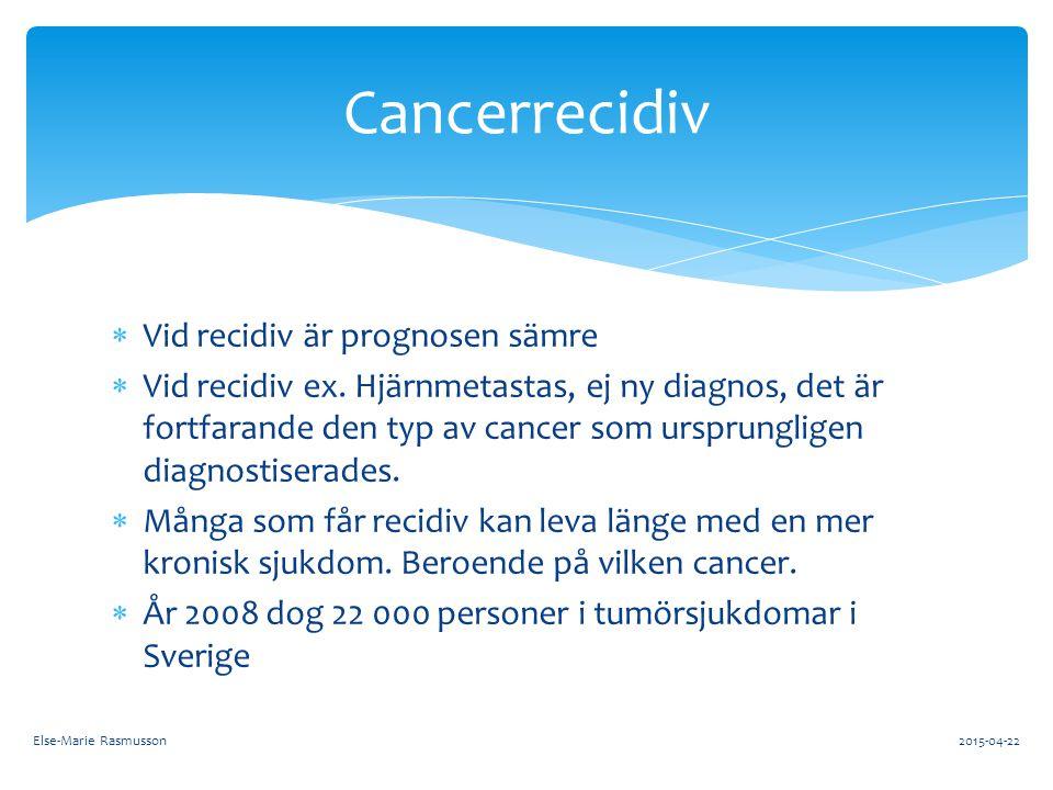  Vid recidiv är prognosen sämre  Vid recidiv ex. Hjärnmetastas, ej ny diagnos, det är fortfarande den typ av cancer som ursprungligen diagnostiserad