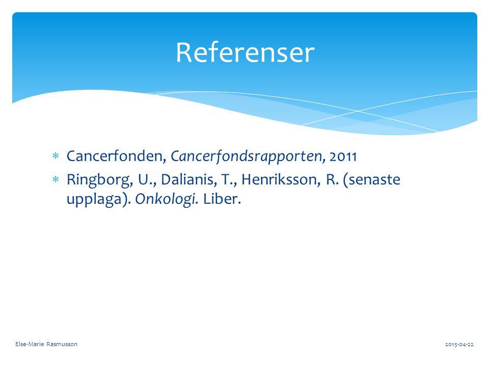  Cancerfonden, Cancerfondsrapporten, 2011  Ringborg, U., Dalianis, T., Henriksson, R. (senaste upplaga). Onkologi. Liber. Referenser Else-Marie Rasm