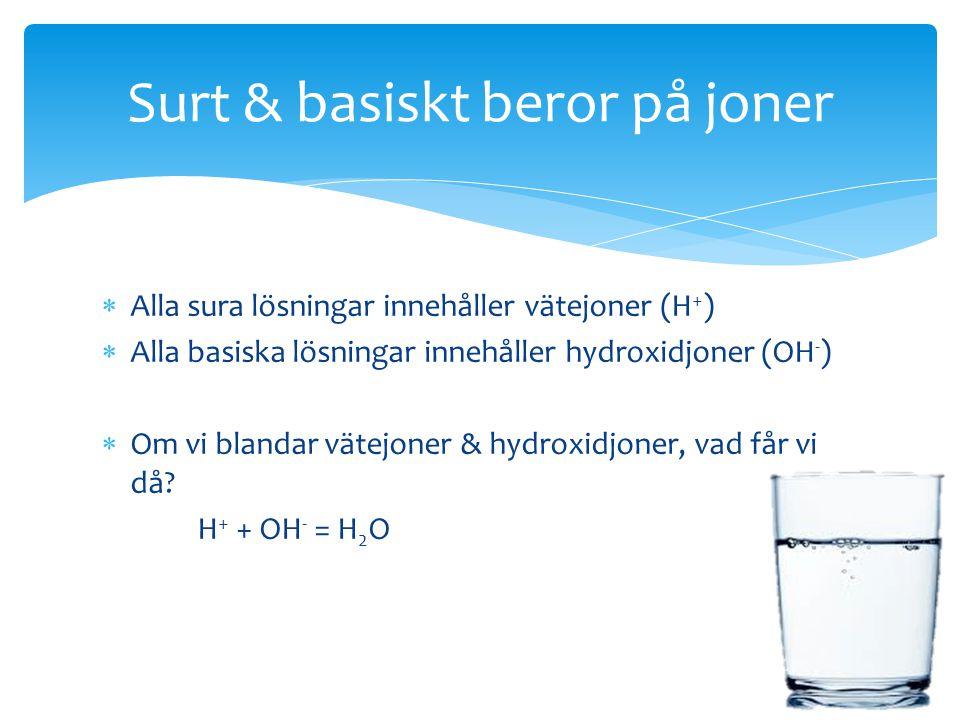  Alla sura lösningar innehåller vätejoner (H + )  Alla basiska lösningar innehåller hydroxidjoner (OH - )  Om vi blandar vätejoner & hydroxidjoner,