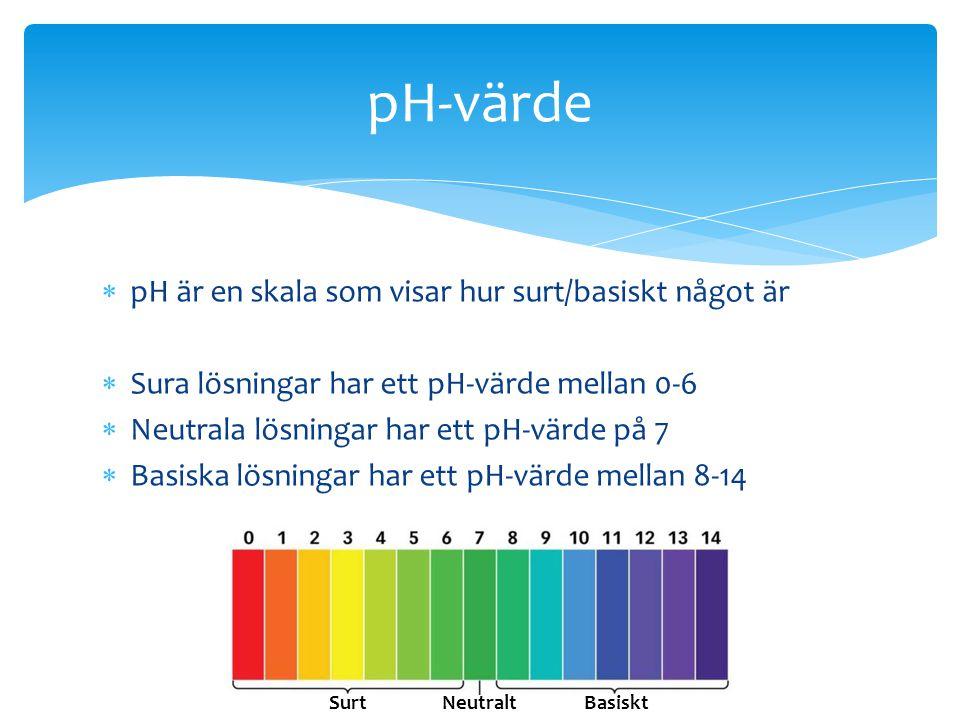  pH är en skala som visar hur surt/basiskt något är  Sura lösningar har ett pH-värde mellan 0-6  Neutrala lösningar har ett pH-värde på 7  Basiska