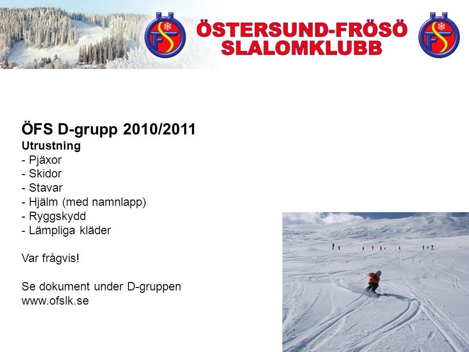 ÖFS D-grupp 2010/2011 Utrustning - Pjäxor - Skidor - Stavar - Hjälm (med namnlapp) - Ryggskydd - Lämpliga kläder Var frågvis.