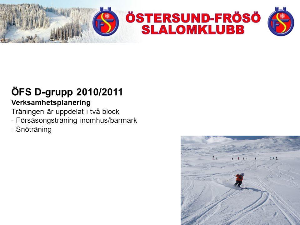 ÖFS D-grupp 2010/2011 Verksamhetsplanering Träningen är uppdelat i två block - Försäsongsträning inomhus/barmark - Snöträning