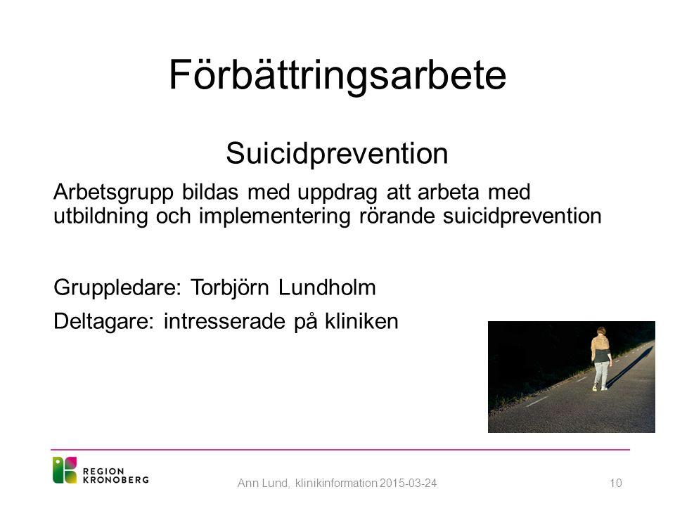Förbättringsarbete Suicidprevention Arbetsgrupp bildas med uppdrag att arbeta med utbildning och implementering rörande suicidprevention Gruppledare: Torbjörn Lundholm Deltagare: intresserade på kliniken Ann Lund, klinikinformation 2015-03-2410