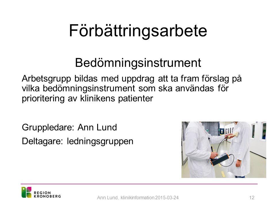 Förbättringsarbete Bedömningsinstrument Arbetsgrupp bildas med uppdrag att ta fram förslag på vilka bedömningsinstrument som ska användas för prioritering av klinikens patienter Gruppledare: Ann Lund Deltagare: ledningsgruppen Ann Lund, klinikinformation 2015-03-2412