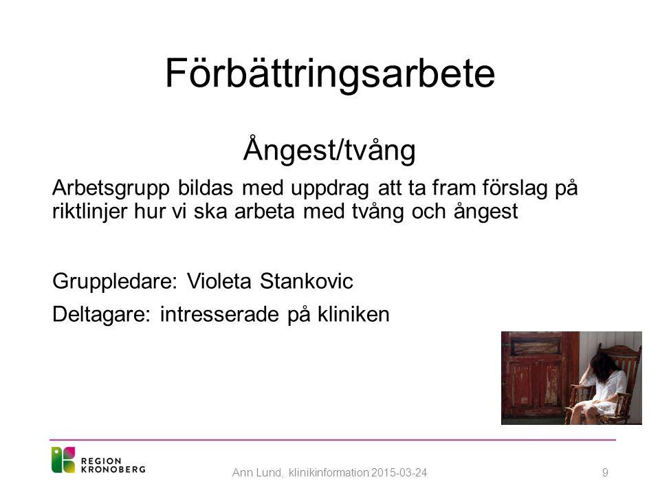 Förbättringsarbete Ångest/tvång Arbetsgrupp bildas med uppdrag att ta fram förslag på riktlinjer hur vi ska arbeta med tvång och ångest Gruppledare: Violeta Stankovic Deltagare: intresserade på kliniken Ann Lund, klinikinformation 2015-03-249