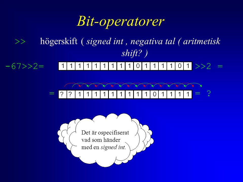 Bit-operatorer >> högerskift ( signed int, negativa tal ( aritmetisk shift? ) -67>>2= >>2 = == ? Det är ospecifiserat vad som händer med en signed int