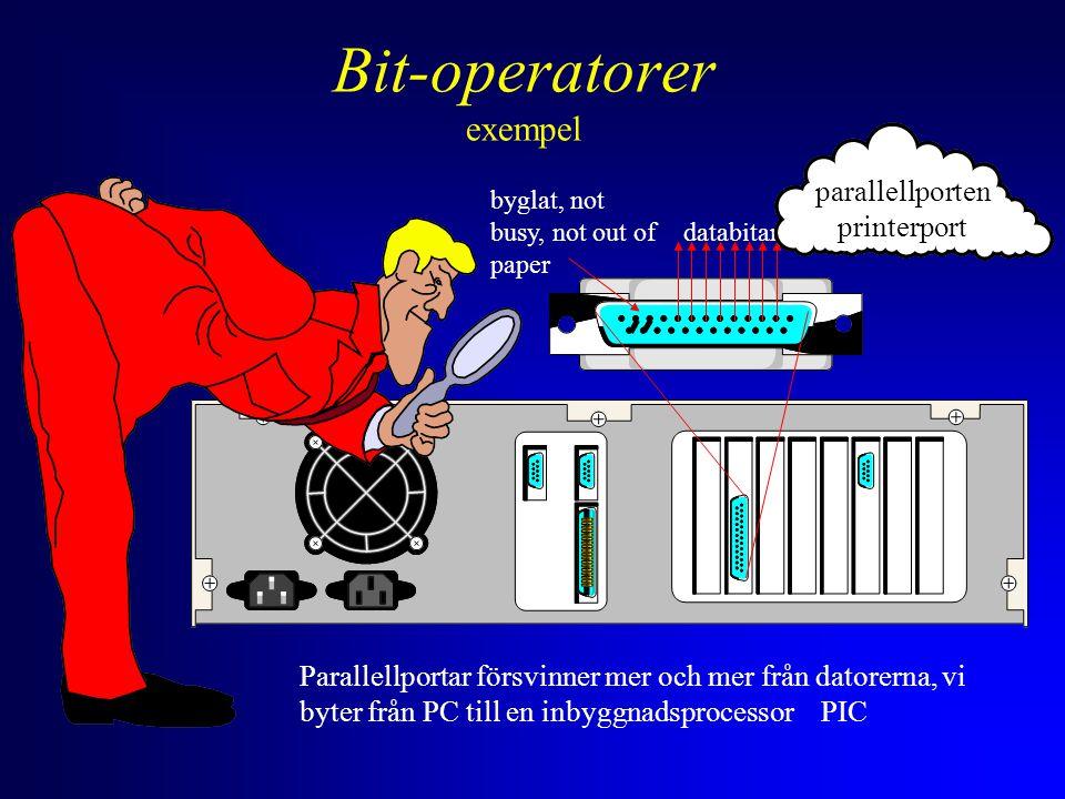 databitar byglat, not busy, not out of paper parallellporten printerport Parallellportar försvinner mer och mer från datorerna, vi byter från PC till en inbyggnadsprocessor PIC