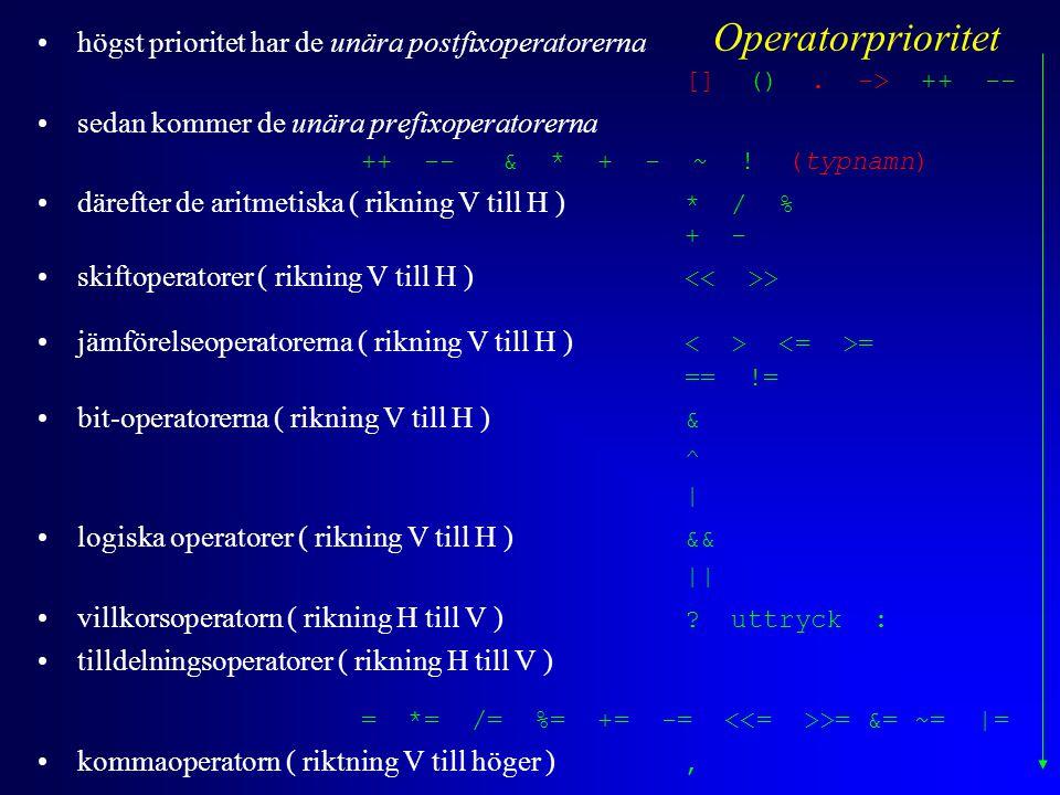 högst prioritet har de unära postfixoperatorerna [] (). -> ++ -- sedan kommer de unära prefixoperatorerna ++ -- & * + - ~ ! (typnamn) därefter de arit