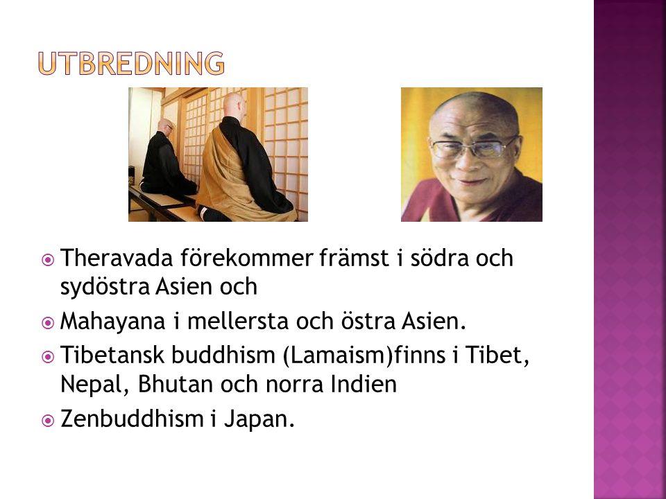  Theravada förekommer främst i södra och sydöstra Asien och  Mahayana i mellersta och östra Asien.  Tibetansk buddhism (Lamaism)finns i Tibet, Nepa