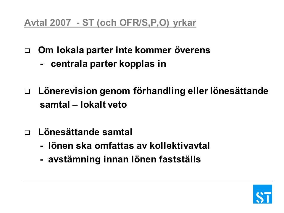 Avtal 2007 - ST (och OFR/S,P,O) yrkar  Om lokala parter inte kommer överens - centrala parter kopplas in  Lönerevision genom förhandling eller lönesättande samtal – lokalt veto  Lönesättande samtal - lönen ska omfattas av kollektivavtal - avstämning innan lönen fastställs
