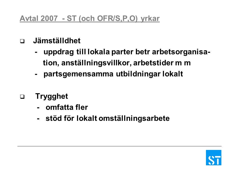 Avtal 2007 - ST (och OFR/S,P,O) yrkar  Jämställdhet - uppdrag till lokala parter betr arbetsorganisa- tion, anställningsvillkor, arbetstider m m - partsgemensamma utbildningar lokalt  Trygghet - omfatta fler - stöd för lokalt omställningsarbete