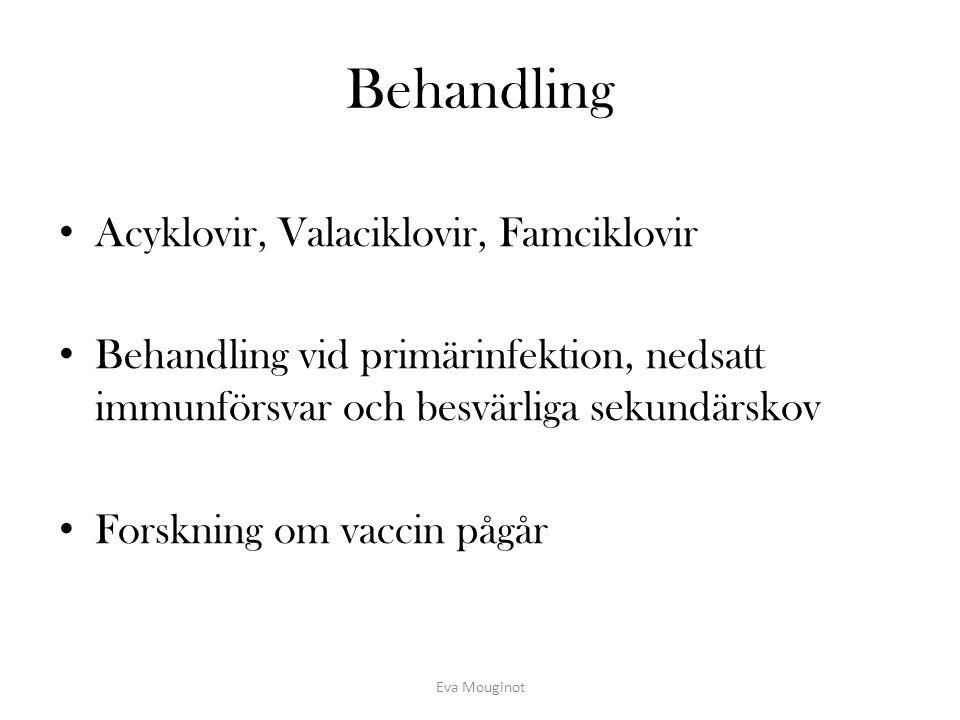 Behandling Acyklovir, Valaciklovir, Famciklovir Behandling vid primärinfektion, nedsatt immunförsvar och besvärliga sekundärskov Forskning om vaccin p