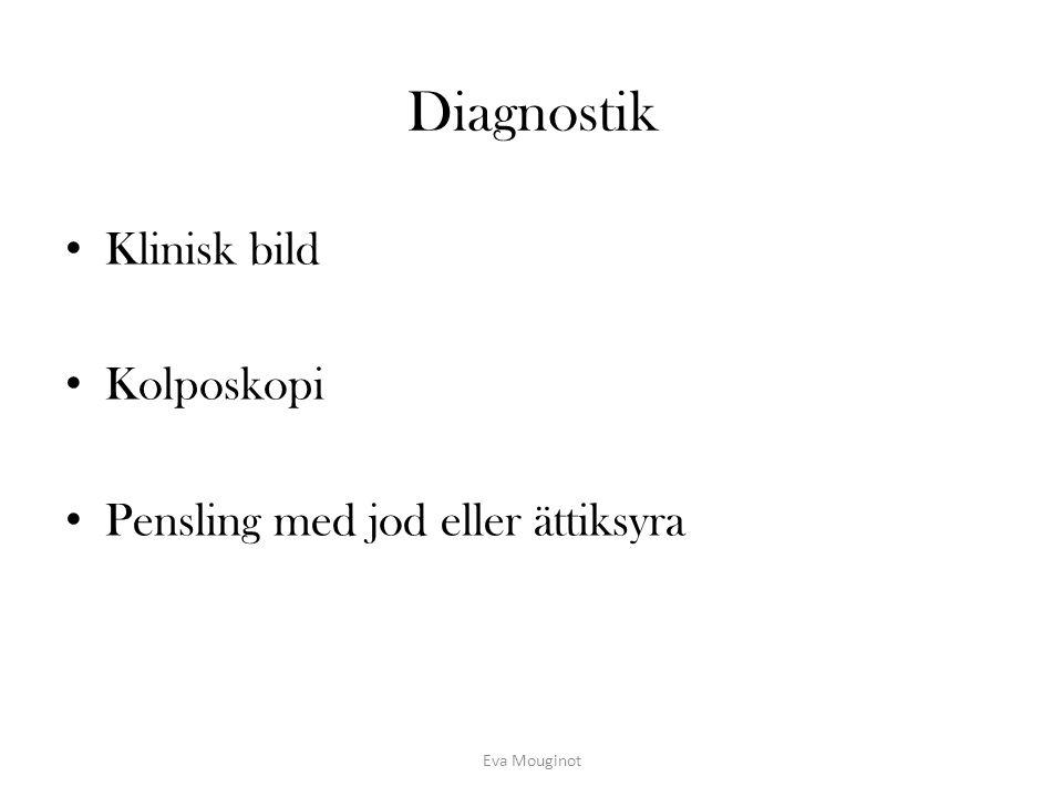 Diagnostik Klinisk bild Kolposkopi Pensling med jod eller ättiksyra Eva Mouginot