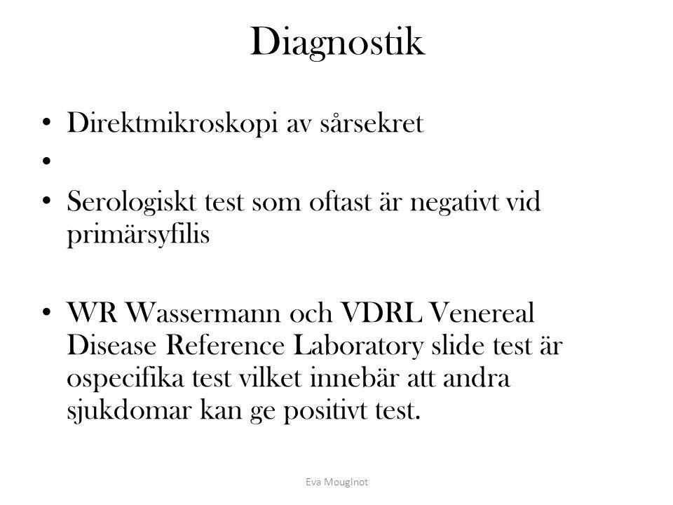 Diagnostik Direktmikroskopi av sårsekret Serologiskt test som oftast är negativt vid primärsyfilis WR Wassermann och VDRL Venereal Disease Reference L