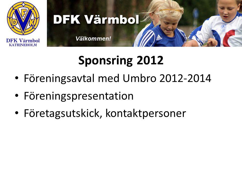 Sponsring 2012 Föreningsavtal med Umbro 2012-2014 Föreningspresentation Företagsutskick, kontaktpersoner