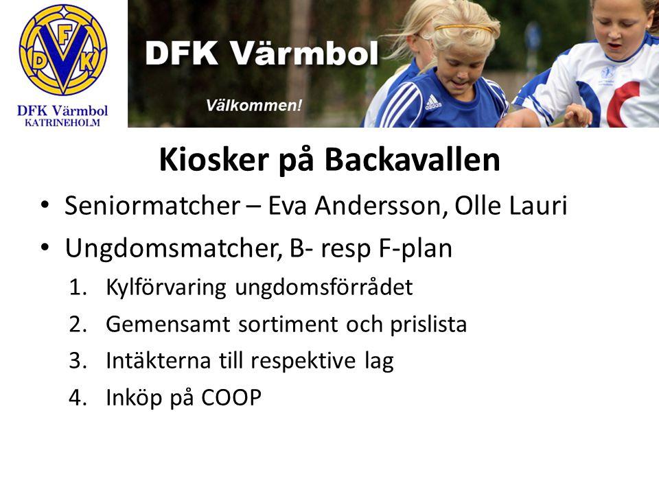 Kiosker på Backavallen Seniormatcher – Eva Andersson, Olle Lauri Ungdomsmatcher, B- resp F-plan 1.Kylförvaring ungdomsförrådet 2.Gemensamt sortiment o