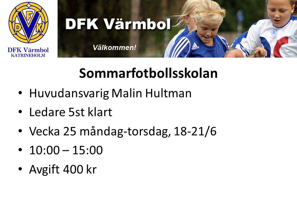 Sommarfotbollsskolan Huvudansvarig Malin Hultman Ledare 5st klart Vecka 25 måndag-torsdag, 18-21/6 10:00 – 15:00 Avgift 400 kr