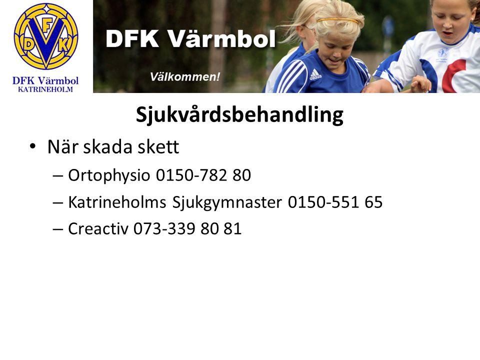 Sjukvårdsbehandling När skada skett – Ortophysio 0150-782 80 – Katrineholms Sjukgymnaster 0150-551 65 – Creactiv 073-339 80 81