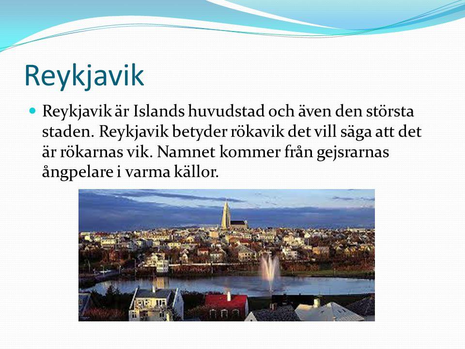 Reykjavik Reykjavik är Islands huvudstad och även den största staden. Reykjavik betyder rökavik det vill säga att det är rökarnas vik. Namnet kommer f
