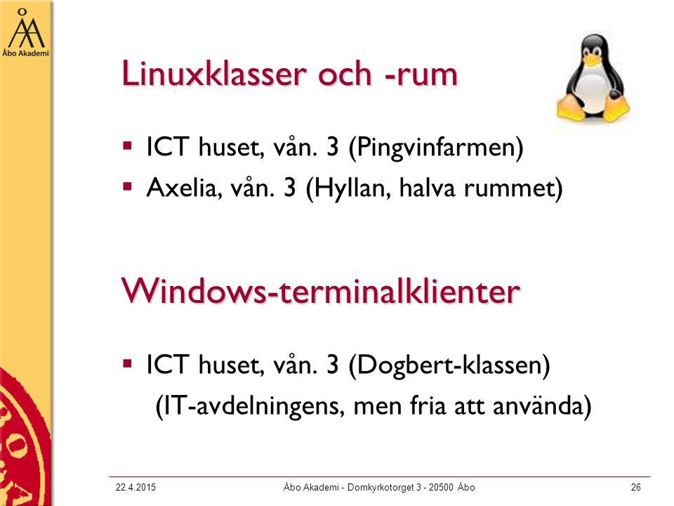 22.4.2015Åbo Akademi - Domkyrkotorget 3 - 20500 Åbo26 Linuxklasser och -rum  ICT huset, vån. 3 (Pingvinfarmen)  Axelia, vån. 3 (Hyllan, halva rummet
