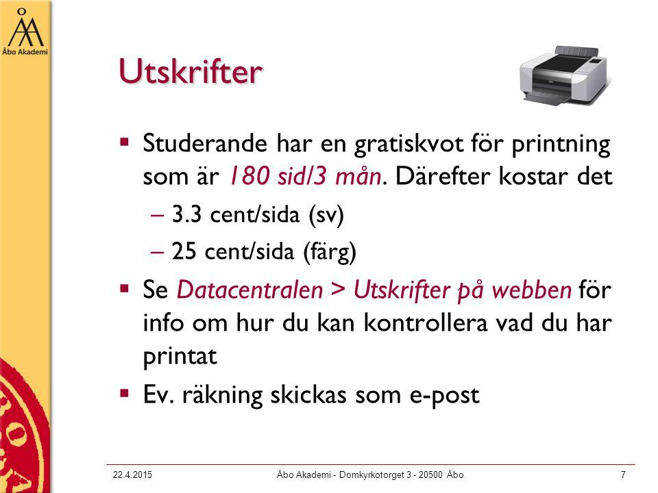 22.4.2015Åbo Akademi - Domkyrkotorget 3 - 20500 Åbo38 Virtual Private Network (VPN)  VPN erbjuder en säker krypterad förbindelse till akademins nät då du kopplar upp din dator till SparkNet eller annat externt nät  VPN krävs för att vissa tjänster såsom utskrifter, hemområden, åtkomst till vissa databaser m.m.