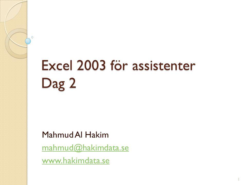 Excel 2003 för assistenter Dag 2 Mahmud Al Hakim mahmud@hakimdata.se www.hakimdata.se 1
