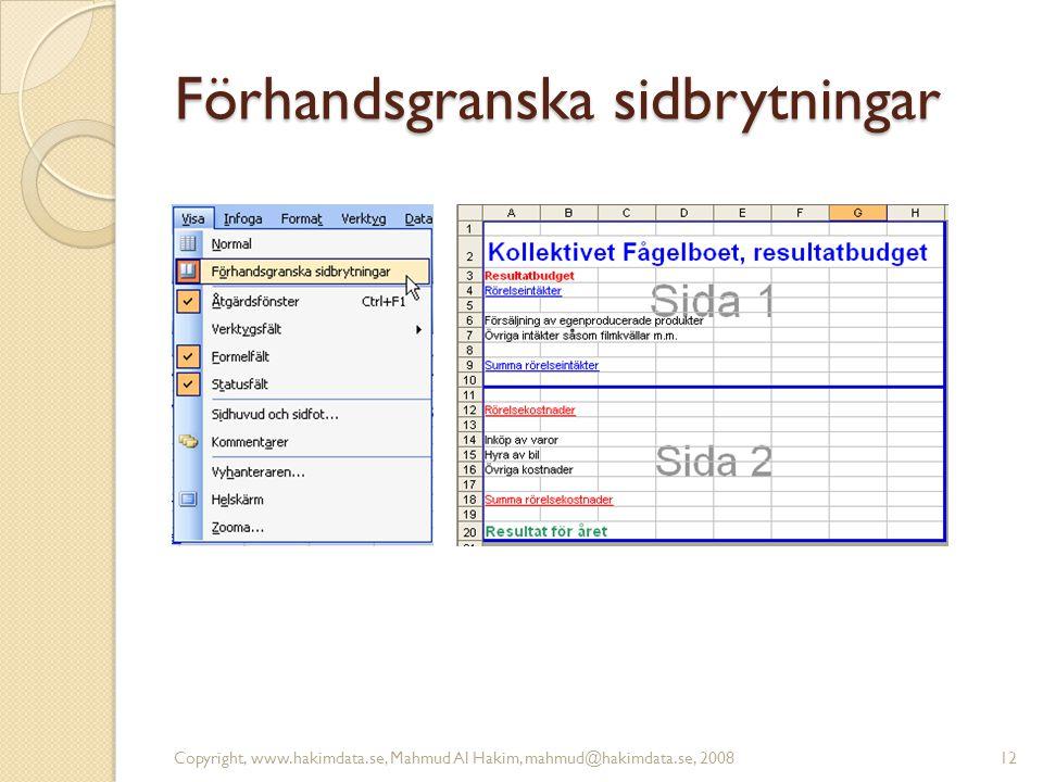 Förhandsgranska sidbrytningar Copyright, www.hakimdata.se, Mahmud Al Hakim, mahmud@hakimdata.se, 200812