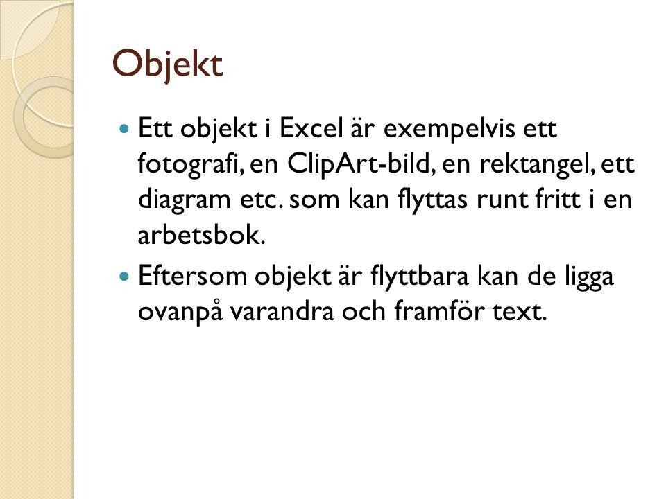 Objekt Ett objekt i Excel är exempelvis ett fotografi, en ClipArt-bild, en rektangel, ett diagram etc.