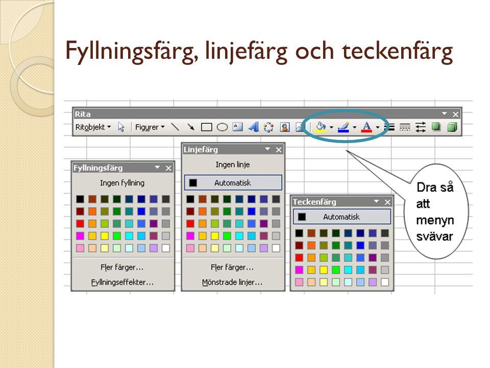 Fyllningsfärg, linjefärg och teckenfärg