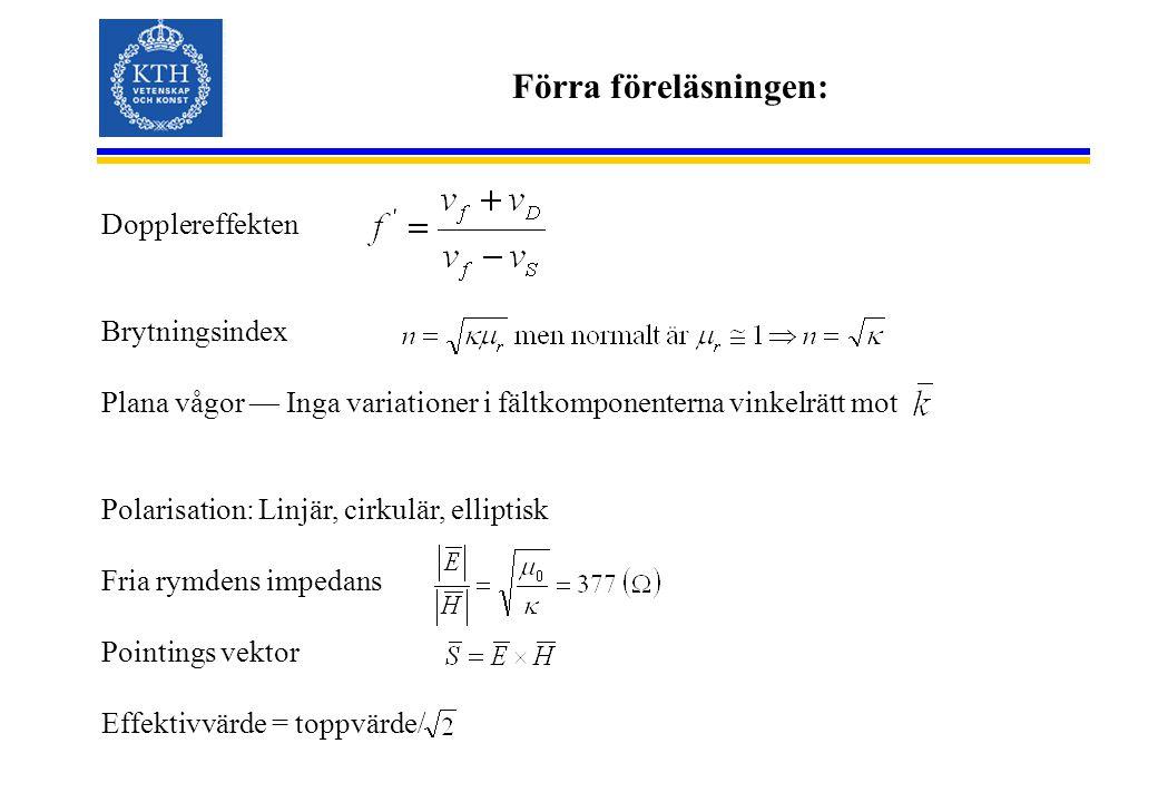 Förra föreläsningen: Dopplereffekten Brytningsindex Plana vågor — Inga variationer i fältkomponenterna vinkelrätt mot Polarisation: Linjär, cirkulär, elliptisk Fria rymdens impedans Pointings vektor Effektivvärde = toppvärde/