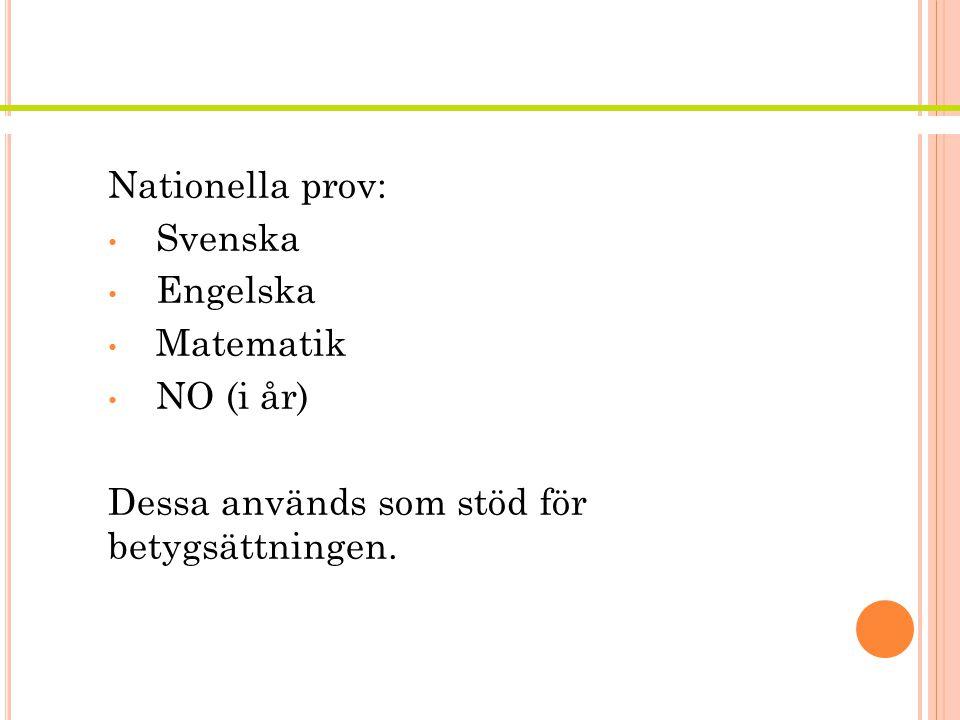 N ATIONELLA PROV Nationella prov: Svenska Engelska Matematik NO (i år) Dessa används som stöd för betygsättningen.