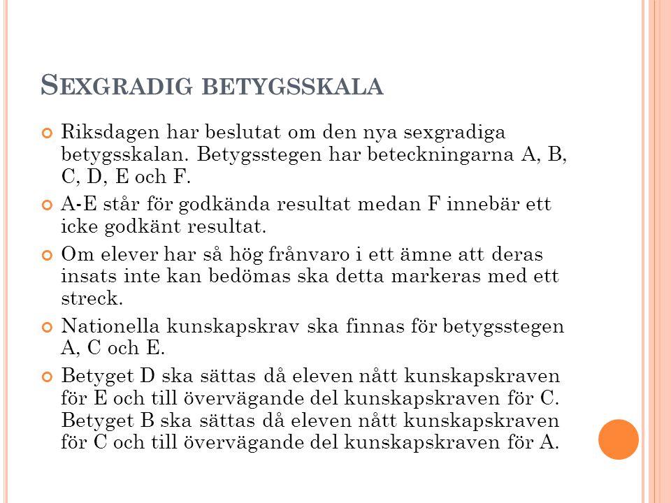 S EXGRADIG BETYGSSKALA Riksdagen har beslutat om den nya sexgradiga betygsskalan. Betygsstegen har beteckningarna A, B, C, D, E och F. A-E står för go